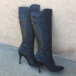 Cole Haan black leather zippered heel boots